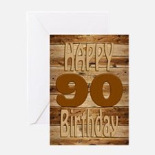 90th Birthday A carved wooden card. Greeting Cards