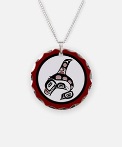 Haida Killer Whale on red Necklace