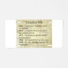 October 8th Aluminum License Plate