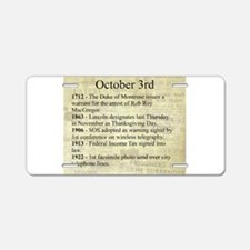 October 3rd Aluminum License Plate