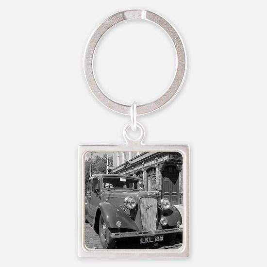 Classic car and English Pub scene Square Keychain
