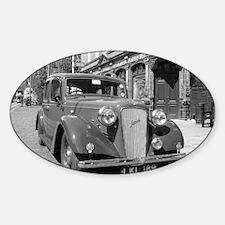 Classic car and English Pub scene Sticker (Oval)