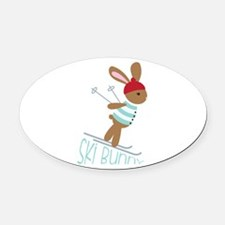 Ski Bunny Oval Car Magnet