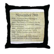 November 28th Throw Pillow