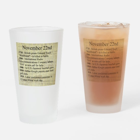 November 22nd Drinking Glass