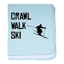 Crawl Walk Ski baby blanket