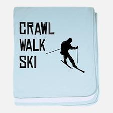 Crawl Walk Ski baby blanket