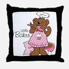 Bear Little Baker Throw Pillow