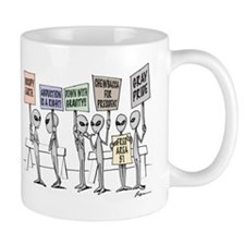 Alien Protestors Mugs