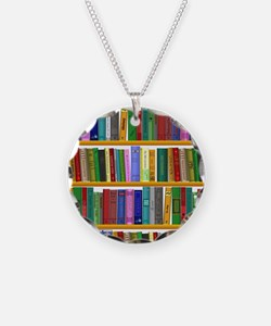 The bookshelf Necklace Circle Charm