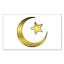 Gold Star and Crescent Rectangle Decal