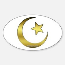 Gold Star and Crescent Oval Decal