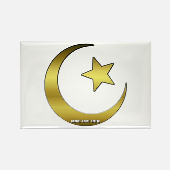Gold Star and Crescent Rectangle Magnet