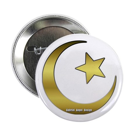 "Gold Star and Crescent 2.25"" Button"