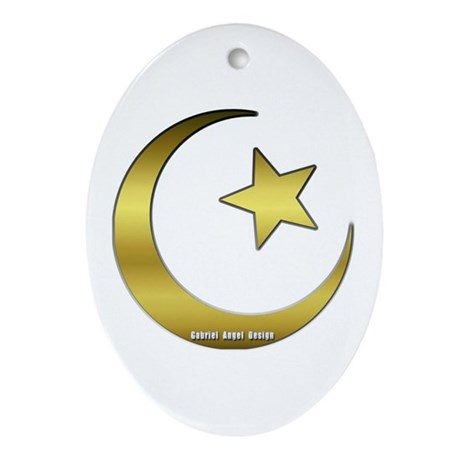 Gold Star and Crescent Oval Ornament