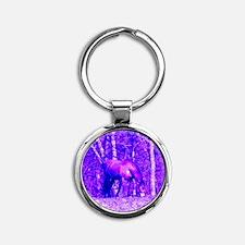 Purple Grazing Horse Round Keychain