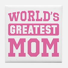 [Pink] World's Greatest Mom Tile Coaster