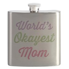 World's Okayest Mom Flask