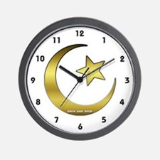 Gold Star and Crescent Wall Clock