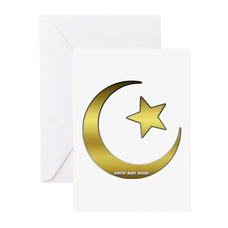 Gold Star and Crescent Greeting Cards (Pk of 10)