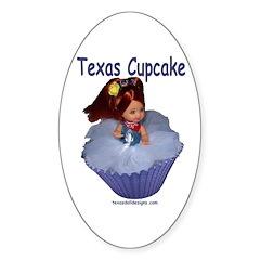 Texas Cupcake Oval Decal