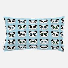 Cute Panda Expressions Pattern Blue Pillow Case