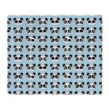 Cute Panda Expressions Pattern Blue Throw Blanket