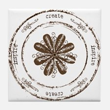 create, inspire (brown) Tile Coaster