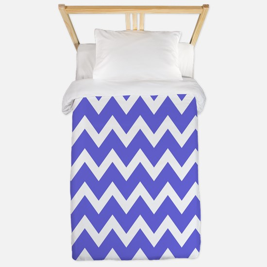 White and Violet Blue Chevrons Twin Duvet