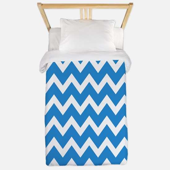 White and blue-green Chevrons Twin Duvet