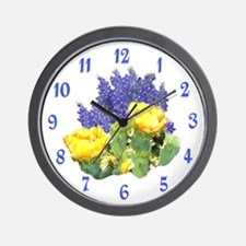 CACTUS FLOWERS AND BLUEBONNETS Wall Clock