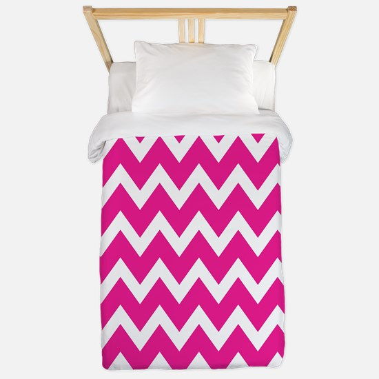 White and Hot Pink Chevrons Twin Duvet