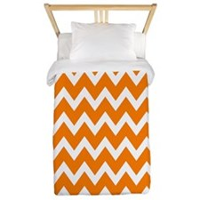 White and Bright Orange Chevrons Twin Duvet