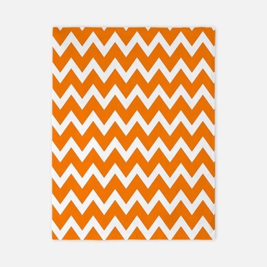 White and Bright Orange Chevrons Twin Duvet