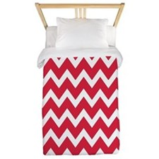 White and cherry red Chevrons Twin Duvet