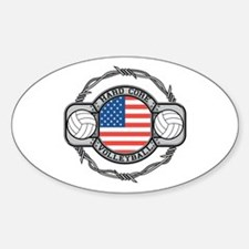 USA Hard Core Volleyball Sticker (Oval)