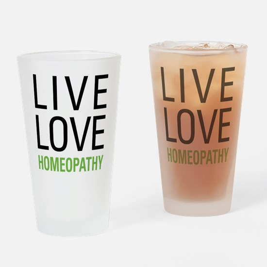 Live Love Homeopathy Drinking Glass