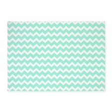 Aqua White Chevron Pattern 5'x7'Area Rug