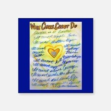 "Blue & Gold Heart Cancer Square Sticker 3"" x 3"""