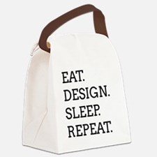 EAT, DESIGN, SLEEP, REPEAT -- Canvas Lunch Bag