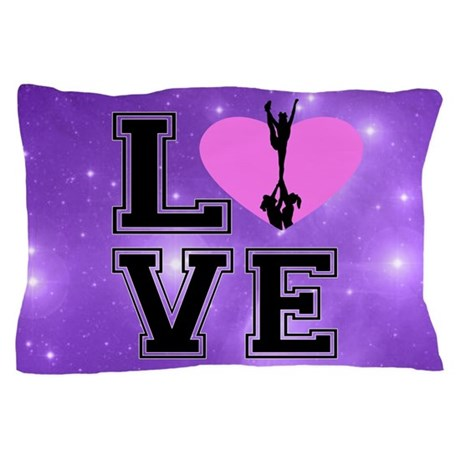 Love Cheerleading purple Pillow Case