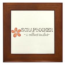 Scrapbooker i collect smiles (orange) Framed Tile