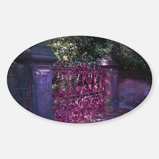 Strawberry Fields Gates Sticker (Oval)