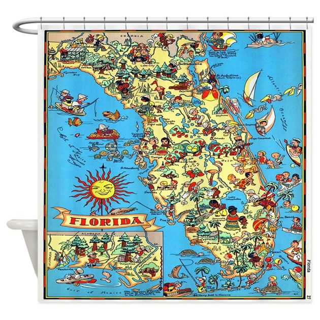 Vintage Colorful Florida Map Shower Curtain By Rebeccakorpita