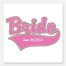 "Bride Personalized Square Car Magnet 3"" x 3"""