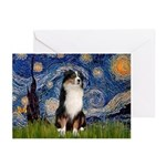 Starry - Tri Aussie Shep2 Greeting Cards (Pk of 10