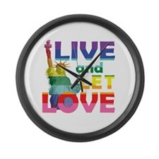 Live Let Love Statue of Liberty Large Wall Clock