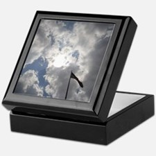 US Flag with a view of the Sky Keepsake Box
