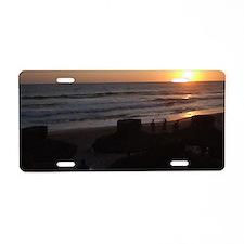 Sunset on a Beach Aluminum License Plate