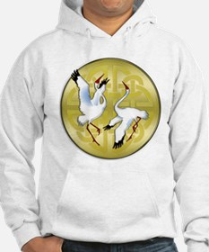Asian Dancing Cranes on Gold Medallion Hoodie